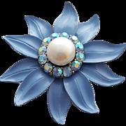 Periwinkle Enameled Metal Flower Brooch with Rhinestones and Faux Pearl