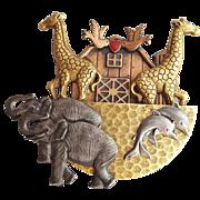 Large 1980s Mixed Metal Color Brooch Noah's Ark Elephants Dolphins Giraffes
