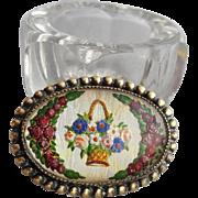 Essex Crystal Glass Brooch Reverse Painted Basket of Flowers