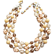 Luscious Vintage Vendome Necklace Venetian Beads and Crystals