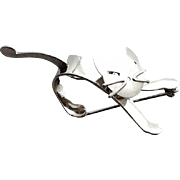 Sterling Silver Cat Brooch Mid Century Modern Swivel Head Beau 5.1 Grams