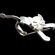 Sterling Silver Cat Brooch Mid Century Modern Swivel Head Beau 5.1 Grams