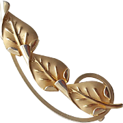 Mid Century Modern Brooch Delicate Gold Filled Signed Pin with Arched Leaves
