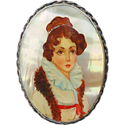 Beautiful Russian Lady Mother Of Pearl Brooch Fedoskino Hand Painted