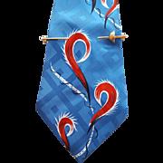 Vintage Illusion Sword Tie Bar for 1950s Wide Neckties Tie Clasp