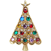 Fancy Rhinestone Christmas Tree Brooch with Lacy Branches
