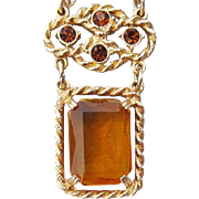 Autumn Necklace Rhinestone Large Faceted Topaz Stone Signed