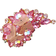 Lavish Pink Rhinestone Brooch Trembling Glass Flowers Juliana