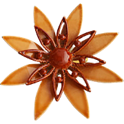 Ideal Autumn Brooch Enameled Metal Flower in Warm Brown