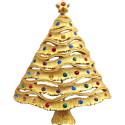 "Large Vintage Christmas Tree Brooch J.J. Jonette Like a ""Whoville"" Tree"