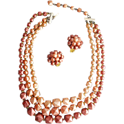 1950s Triple strand Necklace with Earrings Warm Autumn Colors