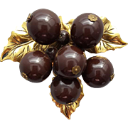 Old 1930s - 1940s Dress Clip Celluloid Burgundy Berry Minty!
