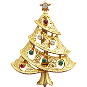 Vintage Rhinestone Christmas Tree Brooch Swooping Branches Open Work