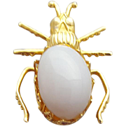 Beetle Bug Brooch White Glass Belly Vintage Insect Jewelry