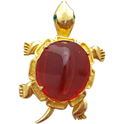 Vintage Turtle Brooch by Kramer with Red Glass Shell
