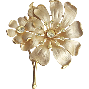 Vintage Brooch Rhinestone Accents on Elegant Enameled Flowers