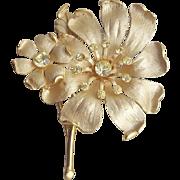 Vintage Brooch Rhinestone Accents on Elegant Enameled Flowers