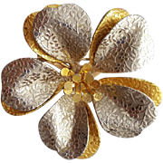 Large 1960s Brooch Silver Gold Tone Flower with Embossed Petals.