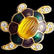 Vintage Monet Rhinestone Turtle Brooch Glass and Enamel Shell