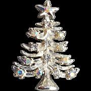 Vintage Silver Tone Christmas Tree Brooch Aurora Rhinestones