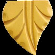 Carved Bakelite Dress Clip 1930s - 1940s Creamed Corn Fashion Accessory