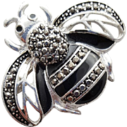 Bumble Bee Brooch Enamel with Marcasites Black Enamel Insect