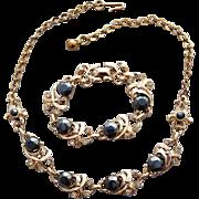1950s Demi Parure Necklace Bracelet Black Diamond Hematite Rhinestones