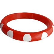 Vintage Bangle Bracelet Red Lucite Pulled White Polka Dots