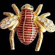 Large Vintage Bug Brooch Enamel Rhinestone Flying Insect