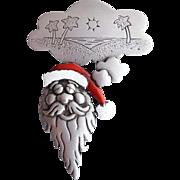 Vintage Christmas Santa Claus Brooch Dreaming of Vacation J.J. Jonette
