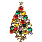 Holiday Christmas Tree Brooch Glass Cabochons Mirrored Backs