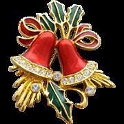 Christmas Holiday Brooch Enamel Bells with Rhinestones