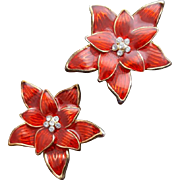 Christmas Poinsettia Clip on Earrings Red Enamel with Rhinestones Holiday Color
