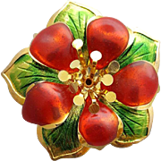 Christmas Brooch Red, Green and Gold Festive Fun Flower