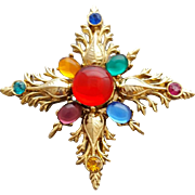 Large Christmas Star Brooch Unusual Design with Glass Cabs
