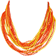 Extra Long Necklace 1960s Multi Strand with Orange and Yellow Beads