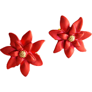 Small Christmas Poinsettia Earrings Clip On Holiday Fun