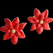 Small Christmas Poinsettia Earrings Clip On Holiday Fun