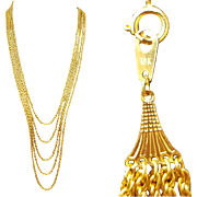 Extra Long 18kt Yellow Gold Necklace Multi Strand 62.3 Grams