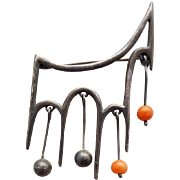 Mid Century Modern Sterling Brooch with Coral  Beads Stylized Horse