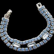 1950s Blue Rhinestone Bracelet Small Size 6-3/4 inches