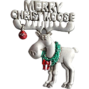 Silly Moose Vintage Christmas Brooch Merry Christmoose Signed J.J. Pewter