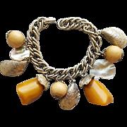 1950s Bakelite Charm Bracelet Dangle Crazy Shells and More