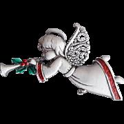 Christmas Angel Brooch Trumpeting Good News J.J. Jonette