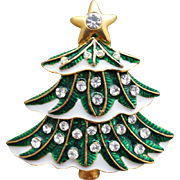 Christmas Tree Brooch Rhinestones  in the Snow Minty