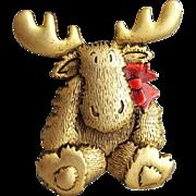 Christmas Baby Moose Brooch Holiday Pin J.J. Jonette
