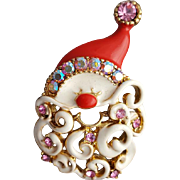 Whimsical Santa Claus Brooch with Rhinestones and Enamel for Christmas