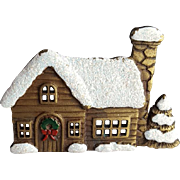 JJ Jonette Christmas Brooch Snow Covered Cabin with Wreath