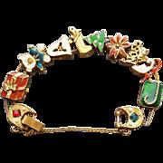 Christmas Slide Charm Bracelet Rhinestones Beads Enameling Size Large