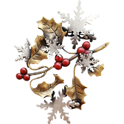 Whimsical Christmas Brooch Snow Flakes Holly Leaves Mixed Metal